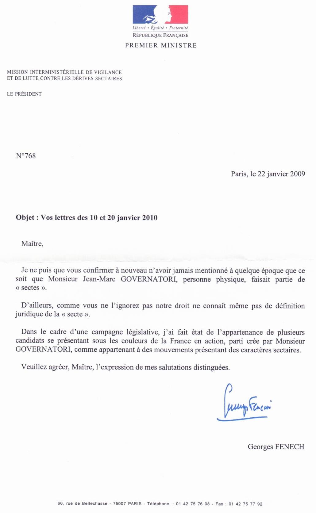 La réponse de Georges Fenech à jean-Marc Governatori