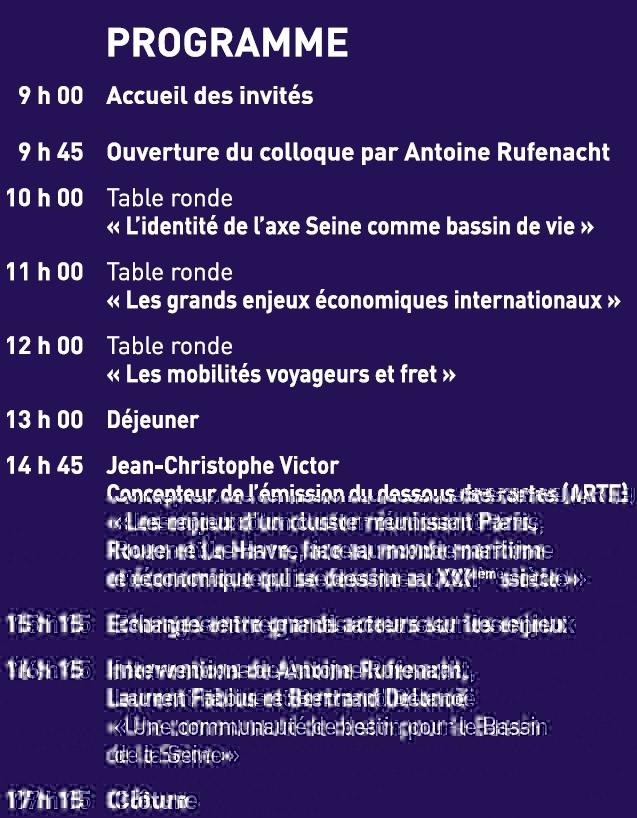 Programme colloque Seine d'Avenir 4 mai 2010 au Havre