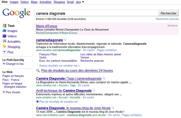"""Une campagne Adwords sur l'expression """"Caméra Diagonale"""" par Michel Champredon !"""