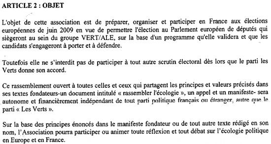 Article 2 des statuts d'Europe Ecologie - 26 janvier 2010