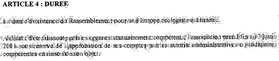 Article 4 des statuts d'Europe Ecologie - 26 janvier 2010