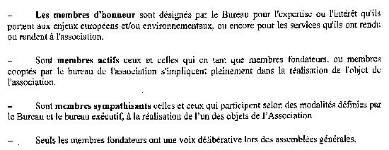 Article 5 des statuts d'Europe Ecologie - 26 janvier 2010