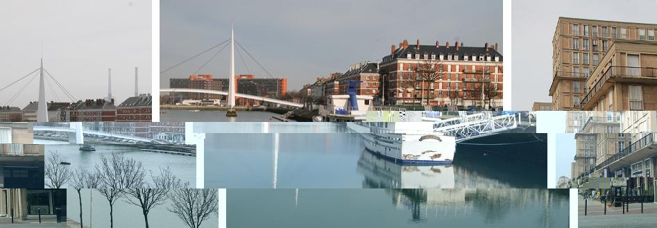 Le bassin, la passerelle au sein du quartier Auguste Perret dans cette belle ville du Havre