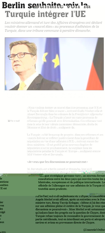 Berlin souhaite voir la Turquie intégrer l'UE