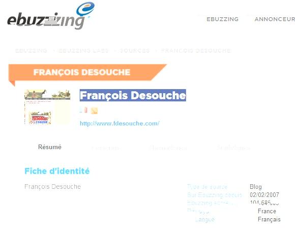 François de Souche, 21e dans le classement des blogs politique ebuzzing