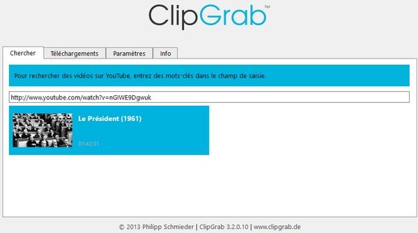 ClipGrab pour télécharger les films à partir de Youtube !