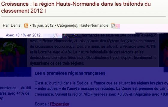 La version de voie Militante sur la croissance en Haute-Normandie