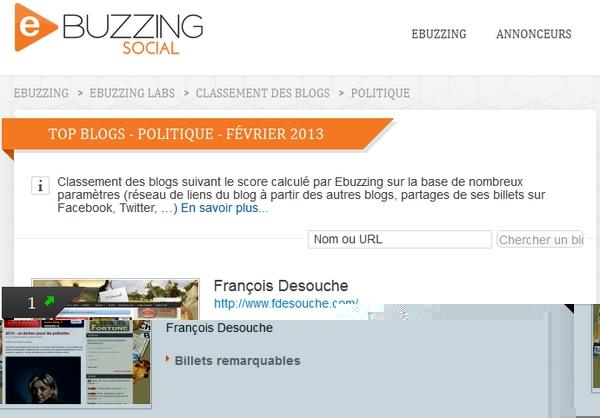 François Desouhce, 1er au classement ebuzzing des blogs politiques !