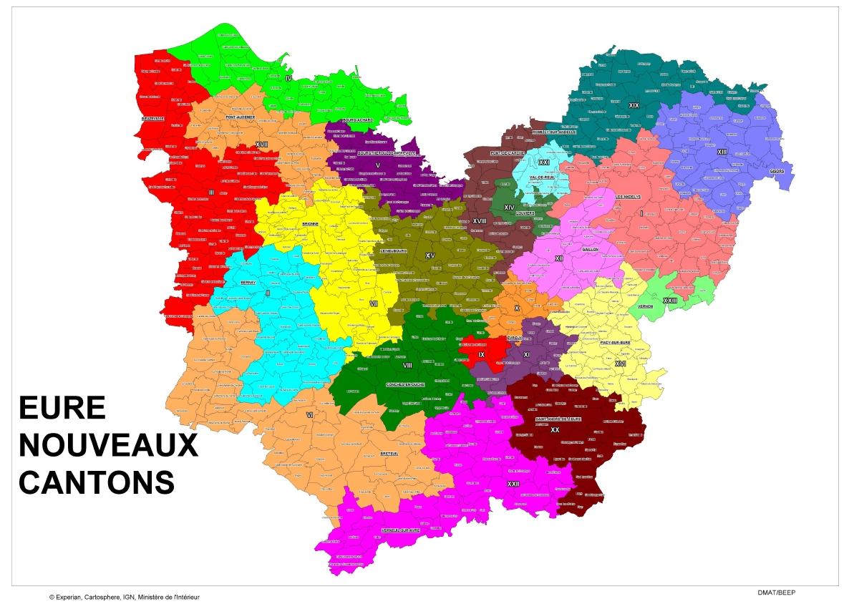 Les dates et le nouveau découpage à l'occasion des élections cantonales de 2015 dans le département de l'Eure