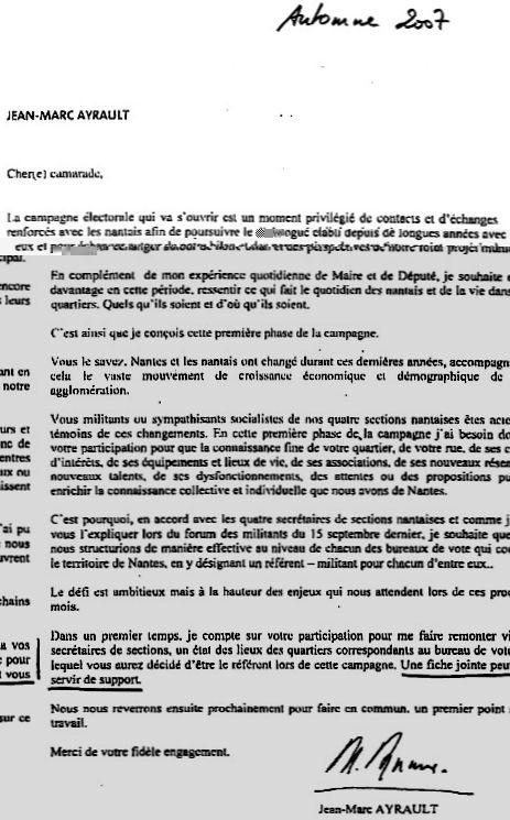 La lettre de Jean-Marc Ayrault demandant le fichage de ses oposants !