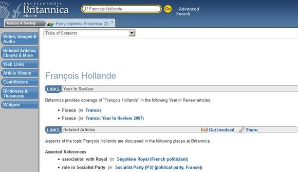 François Hollande : le vide sidéral dans l'encyclopédie Britannica