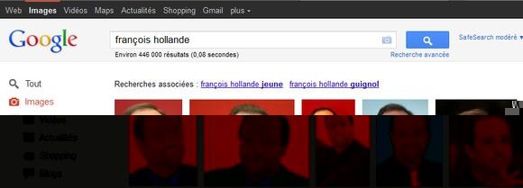 """François Hollande associé à """"guignol"""" dans Google Images"""