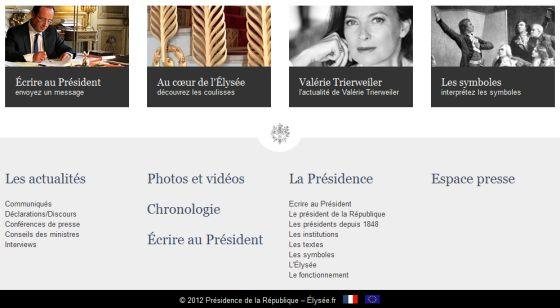 François Hollande et Valérie Trierweiler, côte à côte en bas de la page d'accueil du site de l'Elysée