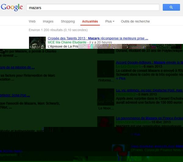 Pas de publication dans Google News autour du coût de la médiation Mazars !