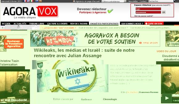 Page d'accueil d'AgoraVox au 9/2/2011