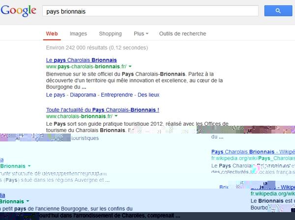 La recherche sur pays brionnais dans Google