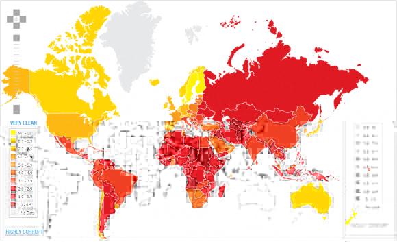 Percpetion de la corruption dans le monde en 2010, par Transparency International