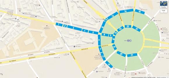 Plan de départ de la manifestation du 18 mars 2012, Place au Peuple