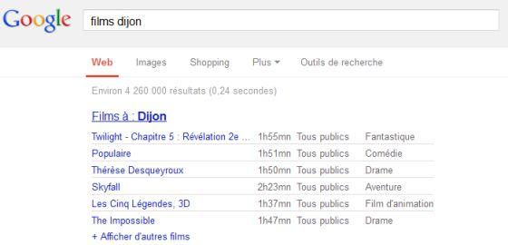 "Recherche dans Google sur ""Films Dijon"""