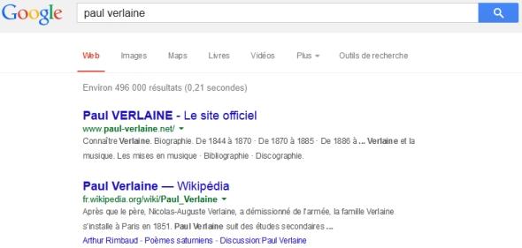Paul Verlaine dans le moteur de recherche Google