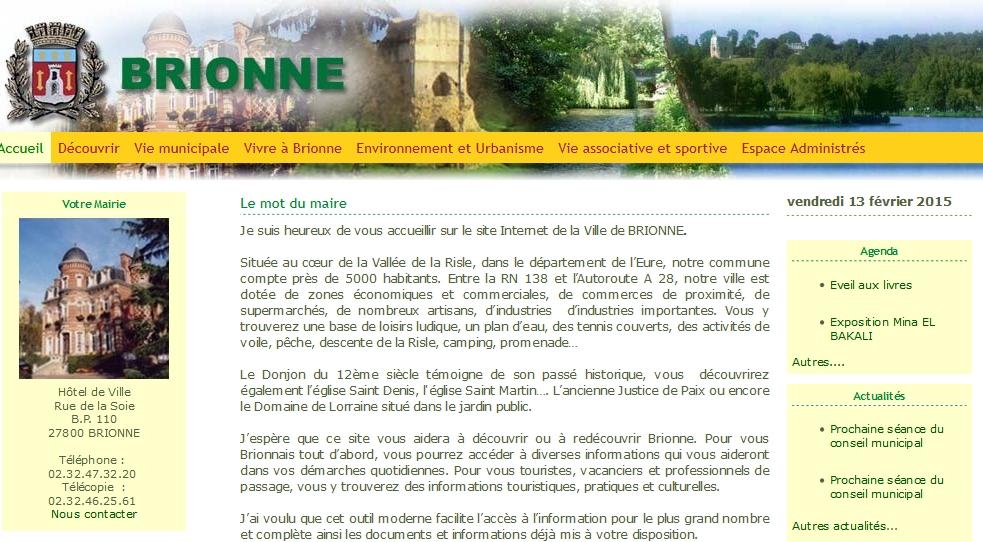 Le site de la ville de Brionne