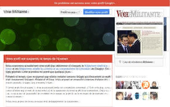 Suspension du compte Google+ de Voie Militante