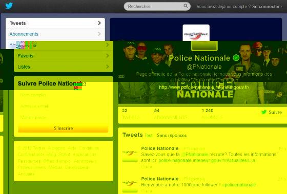 La Police Nationale française sur Twitter !