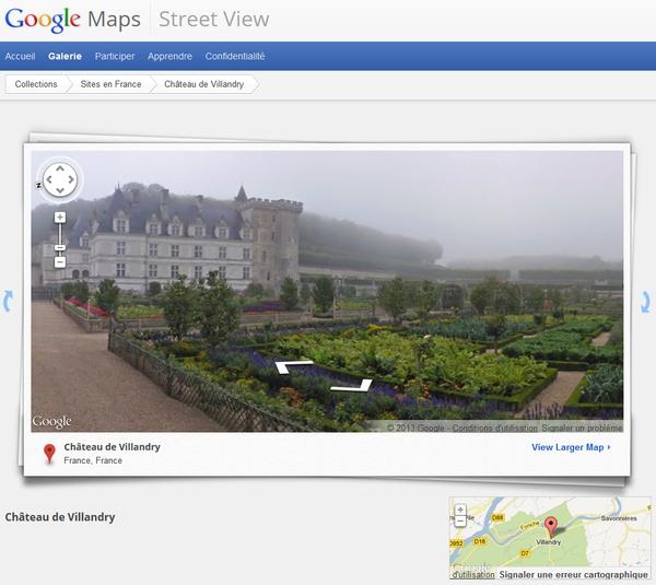 Piètre visite que celle que vous propose Google du château de Villandry !